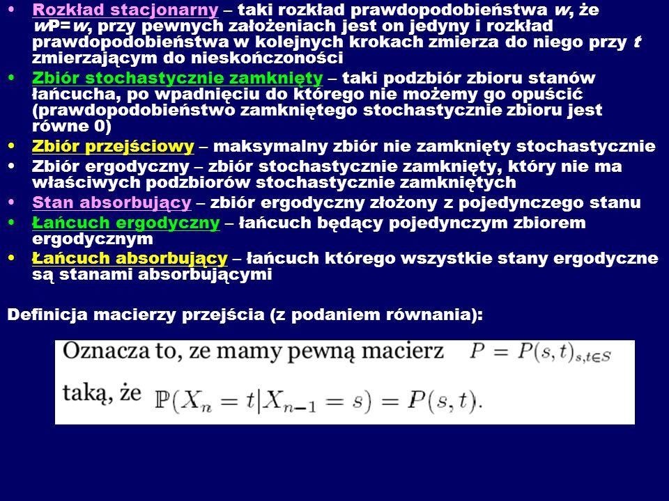 Rozkład stacjonarny – taki rozkład prawdopodobieństwa w, że wP=w, przy pewnych założeniach jest on jedyny i rozkład prawdopodobieństwa w kolejnych kro