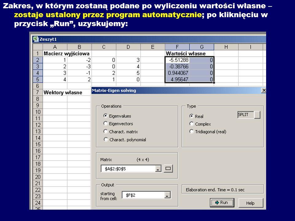 Zakres, w którym zostaną podane po wyliczeniu wartości własne – zostaje ustalony przez program automatycznie; po kliknięciu w przycisk Run, uzyskujemy