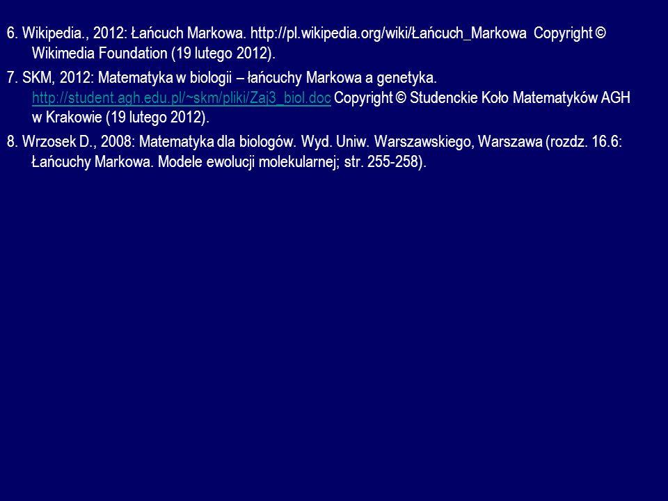 6. Wikipedia., 2012: Łańcuch Markowa. http://pl.wikipedia.org/wiki/Łańcuch_Markowa Copyright © Wikimedia Foundation (19 lutego 2012). 7. SKM, 2012: Ma
