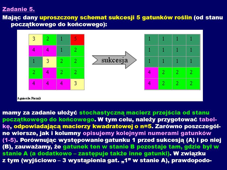 Zadanie 5. Mając dany uproszczony schemat sukcesji 5 gatunków roślin (od stanu początkowego do końcowego): mamy za zadanie ułożyć stochastyczną macier