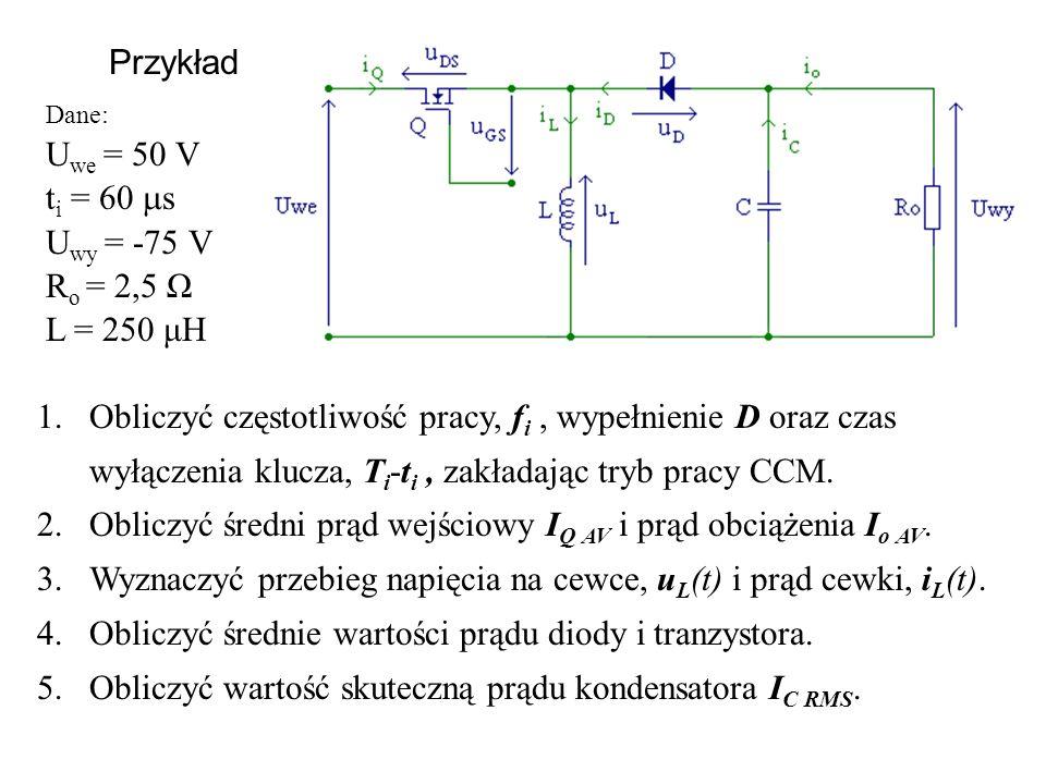 Przykład 1.Obliczyć częstotliwość pracy, f i, wypełnienie D oraz czas wyłączenia klucza, T i -t i, zakładając tryb pracy CCM. 2.Obliczyć średni prąd w