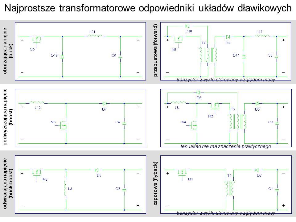 obniżająca napięcie (buck) podwyższająca napięcie (boost) odwracająca napięcie (buck-boost) Najprostsze transformatorowe odpowiedniki układów dławikow