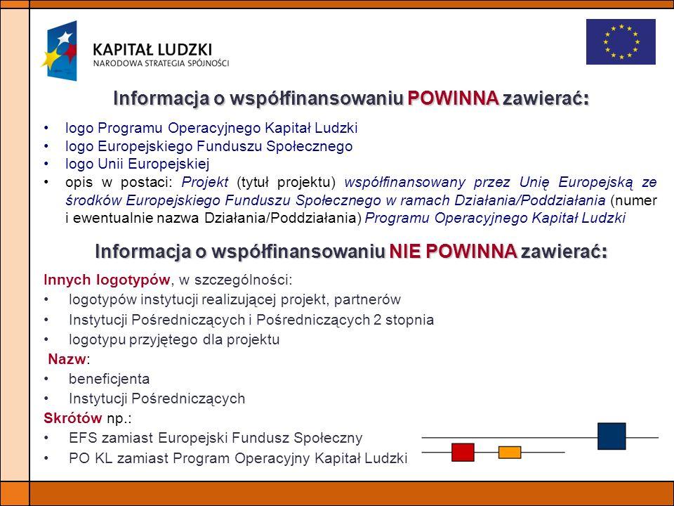 Informacja o współfinansowaniu NIE POWINNA zawierać : Innych logotypów, w szczególności: logotypów instytucji realizującej projekt, partnerów Instytuc