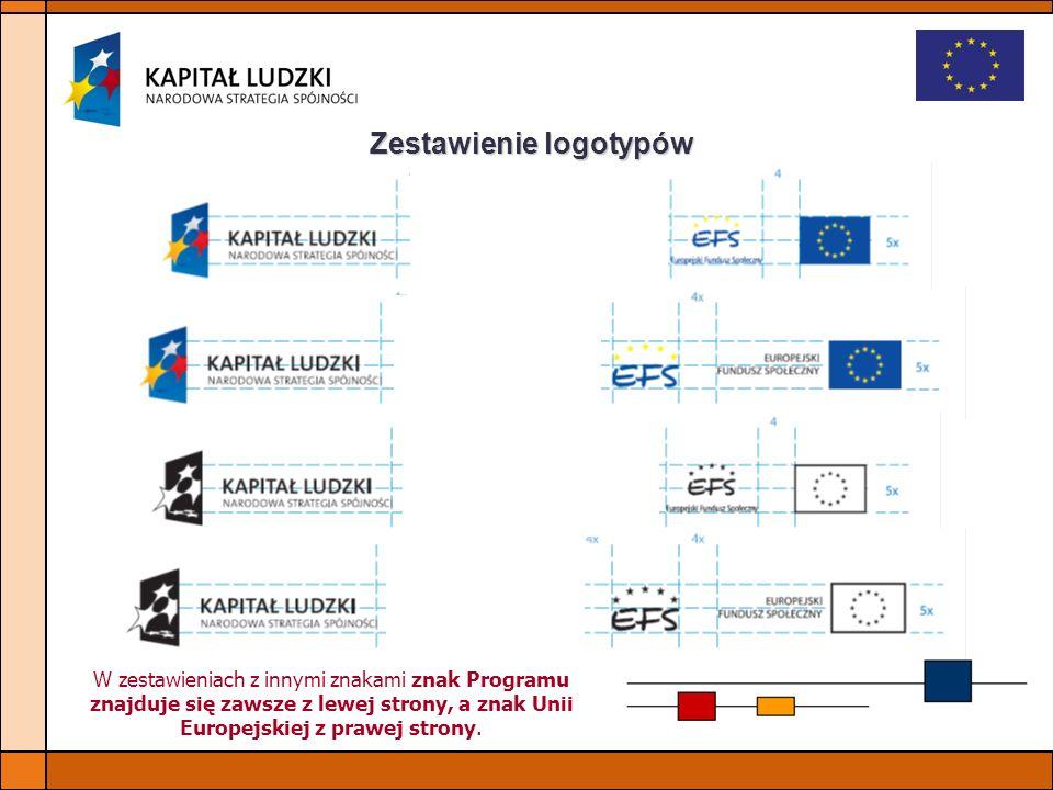 Zestawienie logotypów W zestawieniach z innymi znakami znak Programu znajduje się zawsze z lewej strony, a znak Unii Europejskiej z prawej strony.