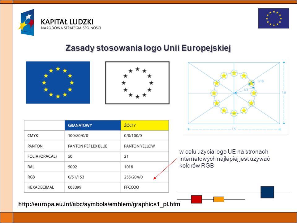 Zasady stosowania logo Unii Europejskiej w celu użycia logo UE na stronach internetowych najlepiej jest używać kolorów RGB http://europa.eu.int/abc/sy