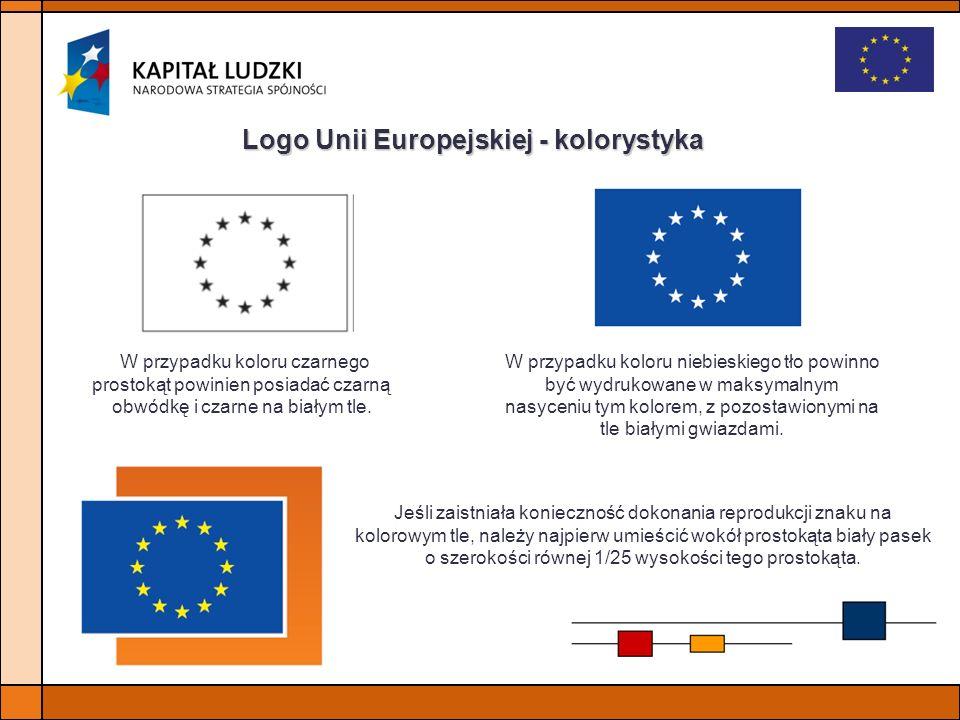 Logo Unii Europejskiej - kolorystyka W przypadku koloru niebieskiego tło powinno być wydrukowane w maksymalnym nasyceniu tym kolorem, z pozostawionymi