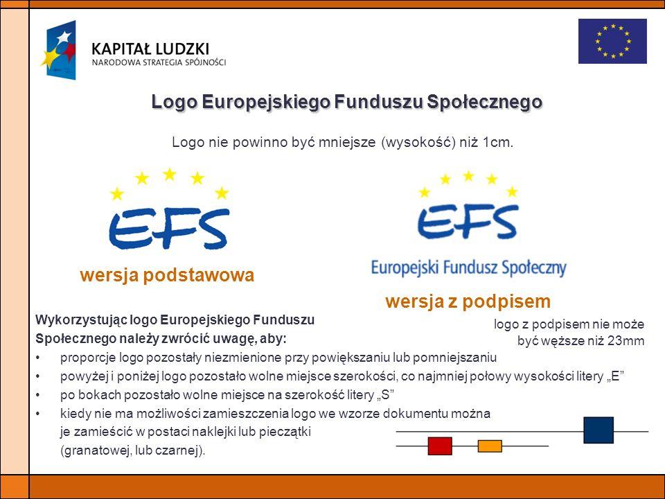 Logo Europejskiego Funduszu Społecznego wersja podstawowa wersja z podpisem Logo nie powinno być mniejsze (wysokość) niż 1cm. logo z podpisem nie może