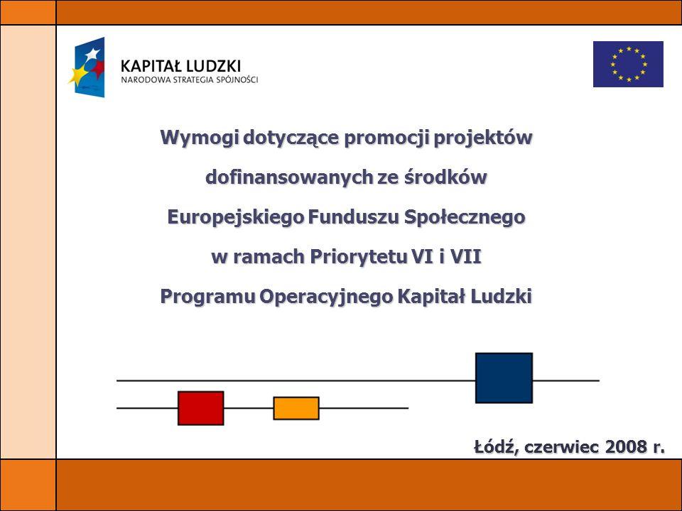 Wymogi dotyczące promocji projektów dofinansowanych ze środków Europejskiego Funduszu Społecznego w ramach Priorytetu VI i VII Programu Operacyjnego K