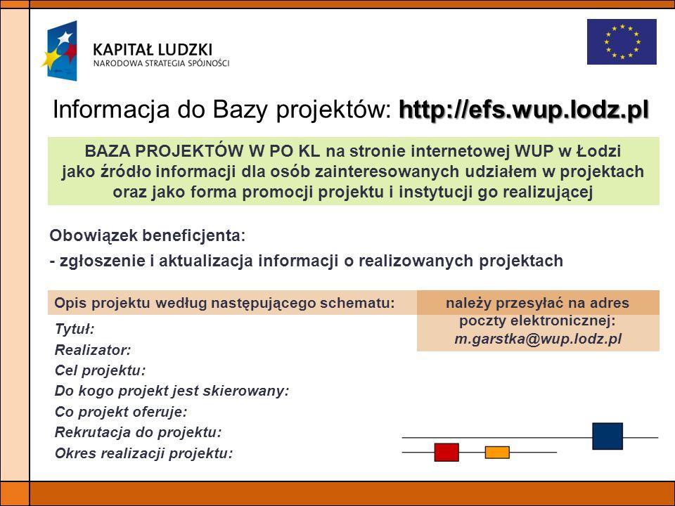 http://efs.wup.lodz.pl Informacja do Bazy projektów: http://efs.wup.lodz.pl BAZA PROJEKTÓW W PO KL na stronie internetowej WUP w Łodzi jako źródło inf