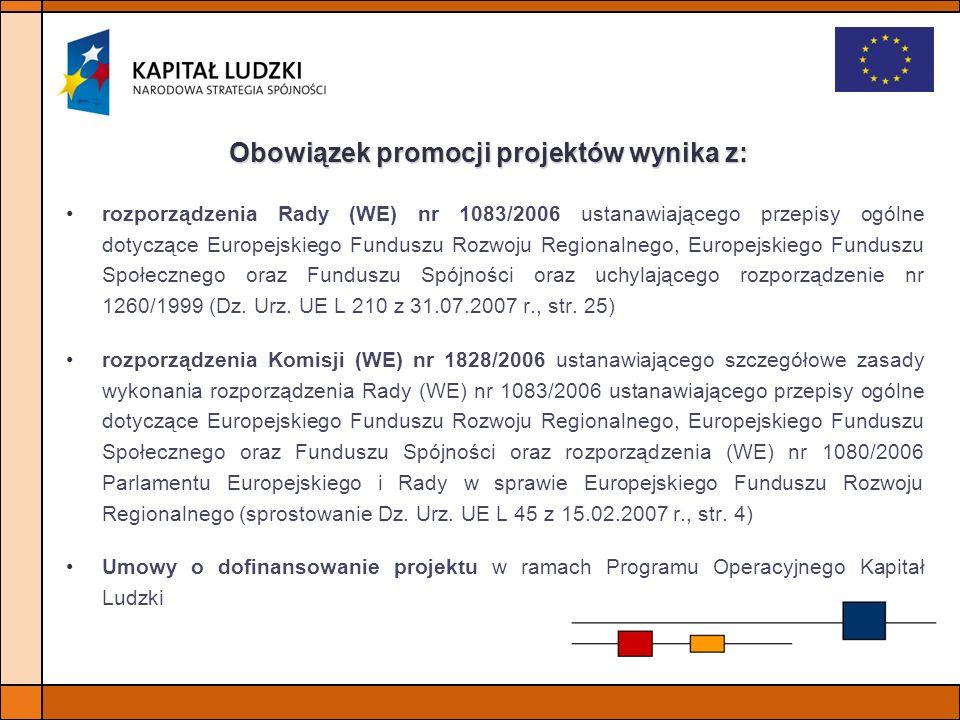 Obowiązek promocji projektów wynika z: rozporządzenia Rady (WE) nr 1083/2006 ustanawiającego przepisy ogólne dotyczące Europejskiego Funduszu Rozwoju