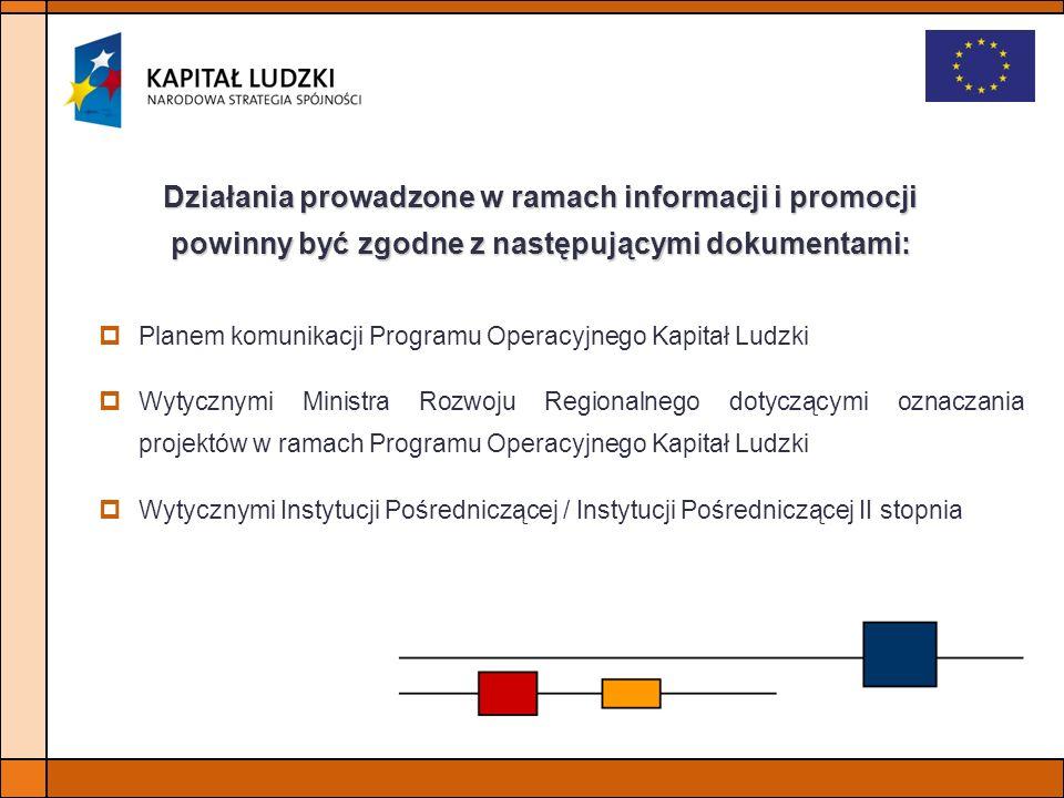 Działania prowadzone w ramach informacji i promocji powinny być zgodne z następującymi dokumentami: Planem komunikacji Programu Operacyjnego Kapitał L