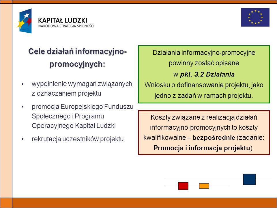 wypełnienie wymagań związanych z oznaczaniem projektu promocja Europejskiego Funduszu Społecznego i Programu Operacyjnego Kapitał Ludzki rekrutacja uc