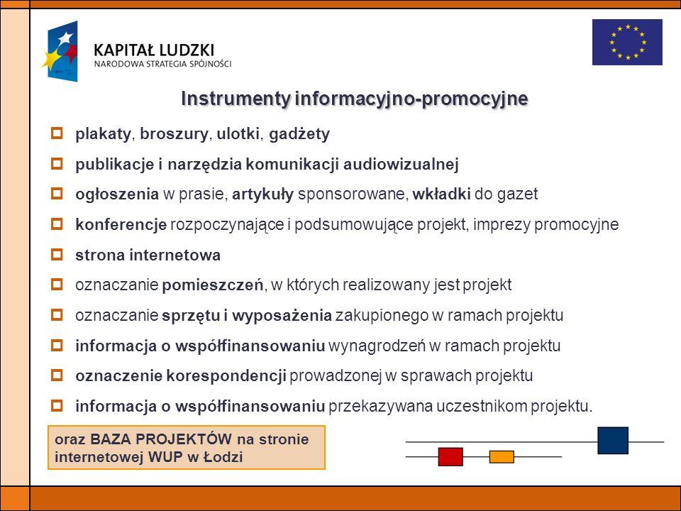 Instrumenty informacyjno-promocyjne plakaty, broszury, ulotki, gadżety publikacje i narzędzia komunikacji audiowizualnej ogłoszenia w prasie, artykuły