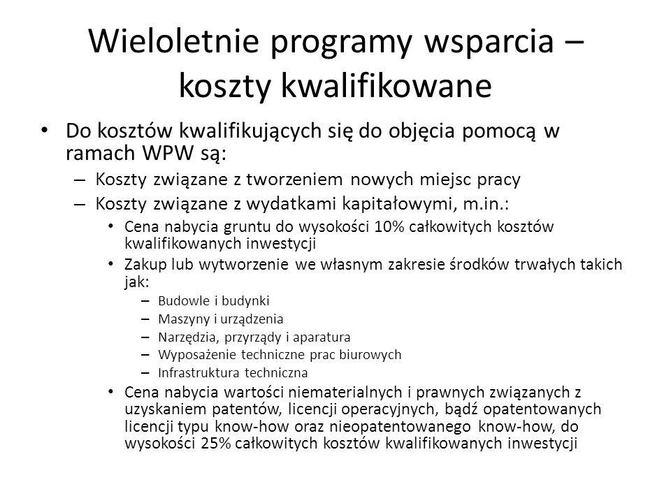 Wieloletnie programy wsparcia – koszty kwalifikowane Do kosztów kwalifikujących się do objęcia pomocą w ramach WPW są: – Koszty związane z tworzeniem