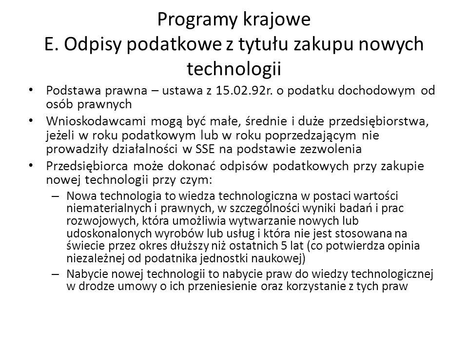 Programy krajowe E. Odpisy podatkowe z tytułu zakupu nowych technologii Podstawa prawna – ustawa z 15.02.92r. o podatku dochodowym od osób prawnych Wn