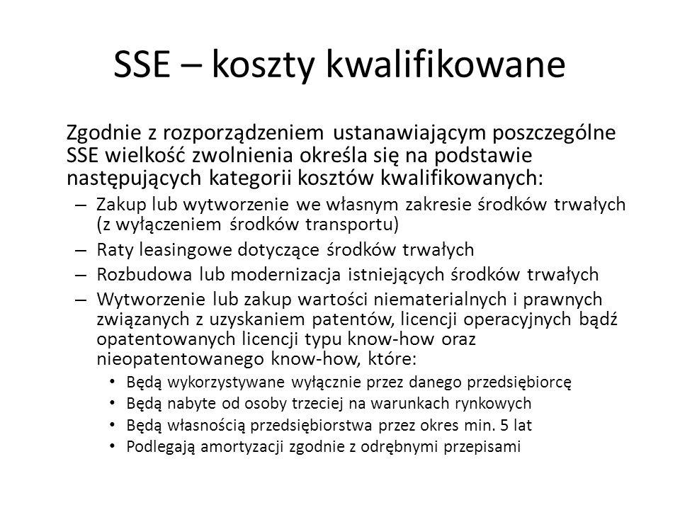 SSE – koszty kwalifikowane Zgodnie z rozporządzeniem ustanawiającym poszczególne SSE wielkość zwolnienia określa się na podstawie następujących katego