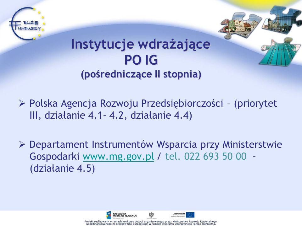 Instytucje wdrażające PO IG (pośredniczące II stopnia) Polska Agencja Rozwoju Przedsiębiorczości – (priorytet III, działanie 4.1- 4.2, działanie 4.4)