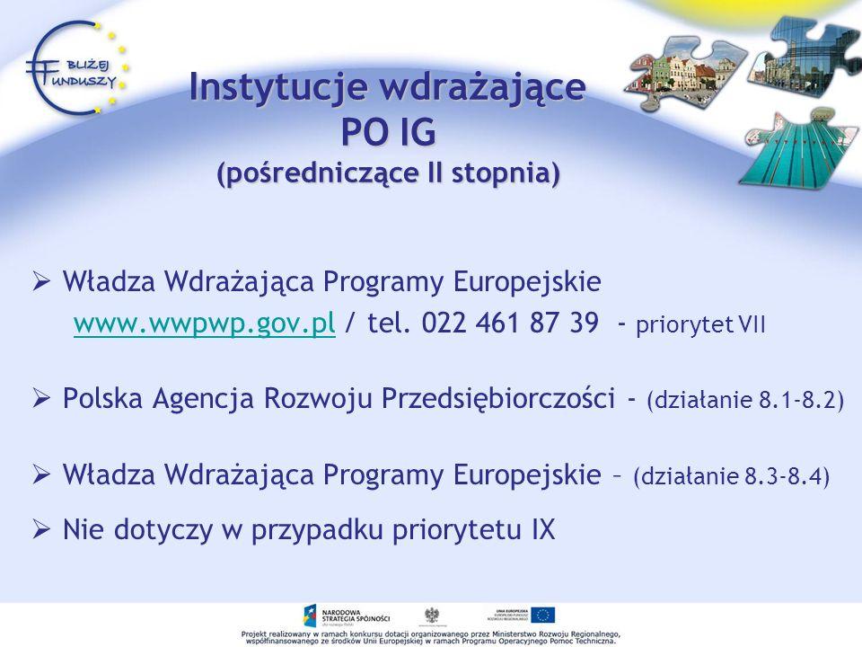 Instytucje wdrażające PO IG (pośredniczące II stopnia) Władza Wdrażająca Programy Europejskie www.wwpwp.gov.pl / tel. 022 461 87 39 - priorytet VIIwww