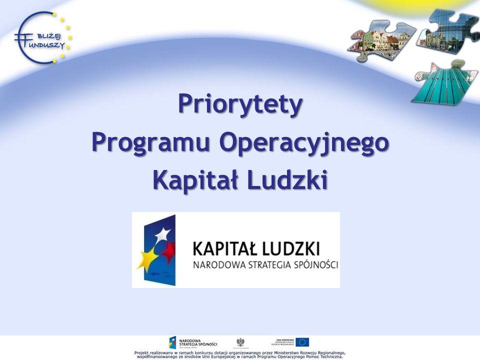 Priorytety Programu Operacyjnego Kapitał Ludzki