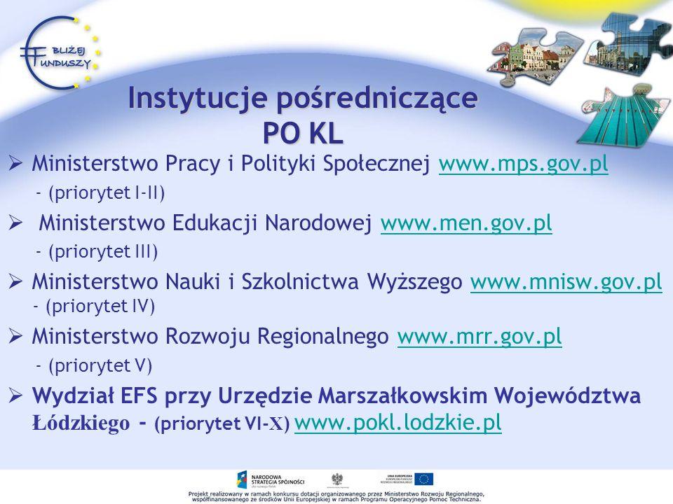 Instytucje pośredniczące PO KL Ministerstwo Pracy i Polityki Społecznej www.mps.gov.plwww.mps.gov.pl - (priorytet I-II) Ministerstwo Edukacji Narodowe