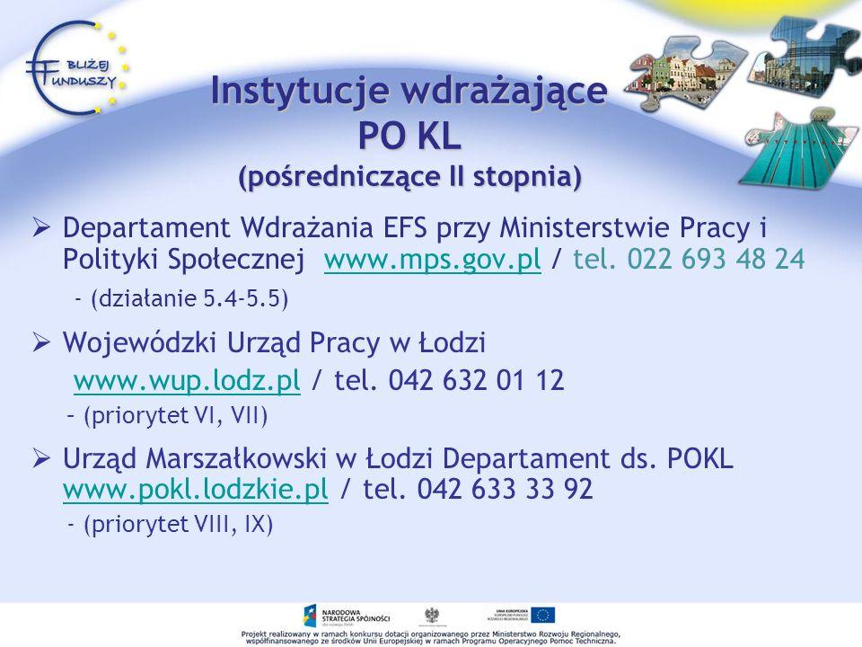 Instytucje wdrażające PO KL (pośredniczące II stopnia) Departament Wdrażania EFS przy Ministerstwie Pracy i Polityki Społecznej www.mps.gov.pl / tel.