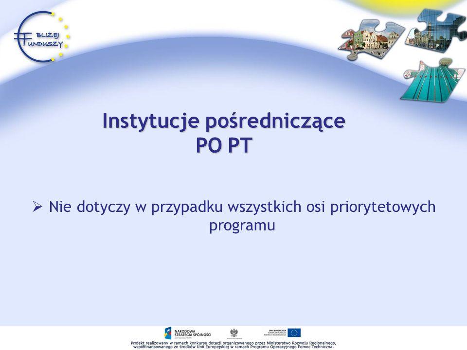 Instytucje pośredniczące PO PT Nie dotyczy w przypadku wszystkich osi priorytetowych programu