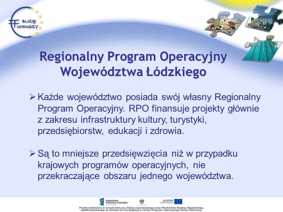 Każde województwo posiada swój własny Regionalny Program Operacyjny. RPO finansuje projekty głównie z zakresu infrastruktury kultury, turystyki, przed