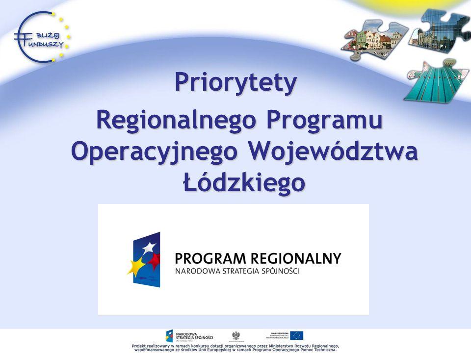 Priorytety Regionalnego Programu Operacyjnego Województwa Łódzkiego Regionalnego Programu Operacyjnego Województwa Łódzkiego