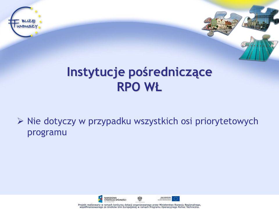 Instytucje pośredniczące RPO WŁ Nie dotyczy w przypadku wszystkich osi priorytetowych programu