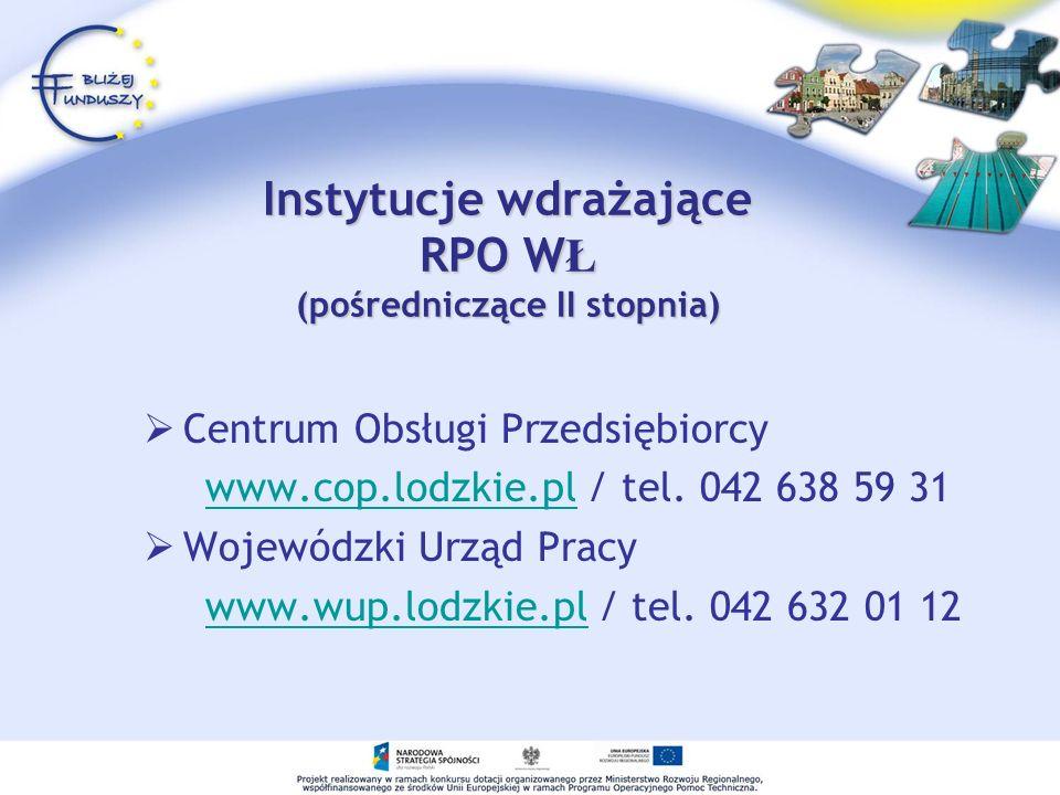 Instytucje wdrażające RPO W Ł (pośredniczące II stopnia) Centrum Obsługi Przedsiębiorcy www.cop.lodzkie.pl / tel. 042 638 59 31www.cop.lodzkie.pl Woje