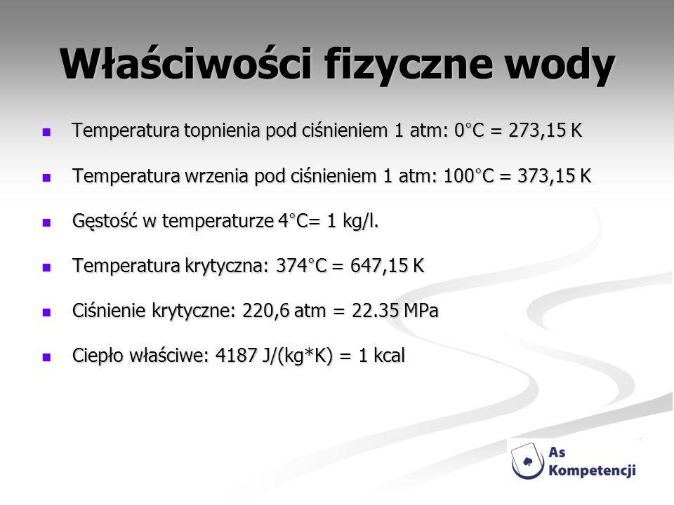 Właściwości fizyczne wody Temperatura topnienia pod ciśnieniem 1 atm: 0°C = 273,15 K Temperatura topnienia pod ciśnieniem 1 atm: 0°C = 273,15 K Temper