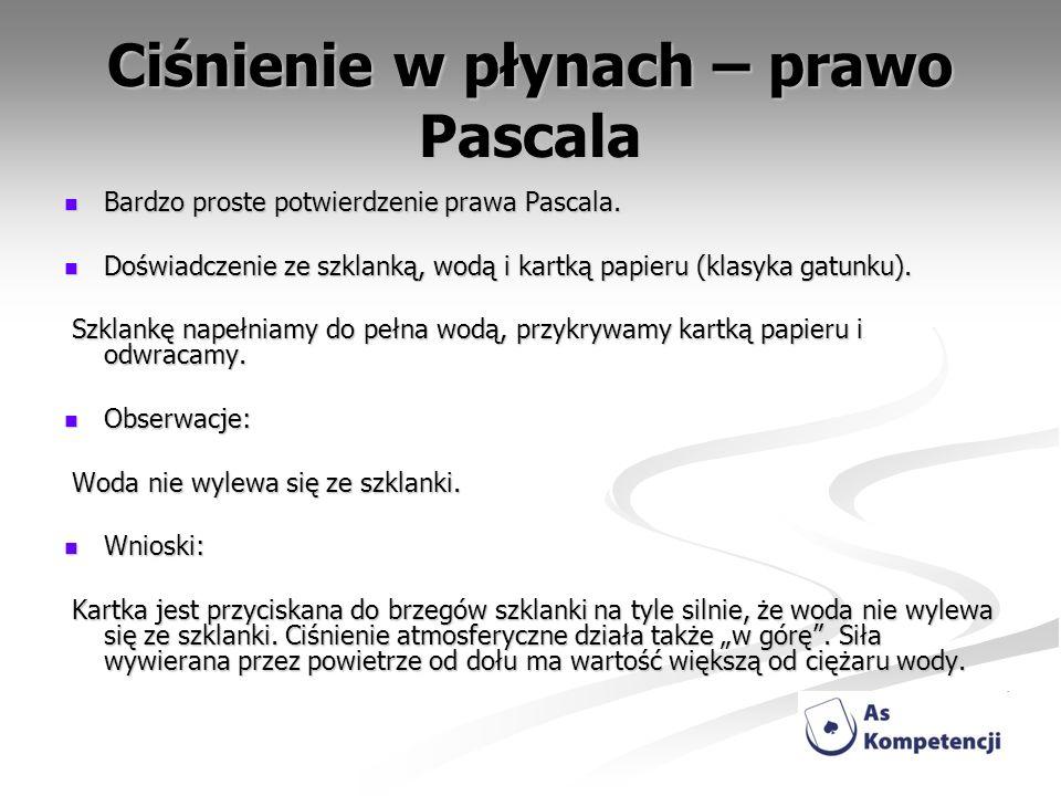 Ciśnienie w płynach – prawo Pascala Bardzo proste potwierdzenie prawa Pascala. Bardzo proste potwierdzenie prawa Pascala. Doświadczenie ze szklanką, w