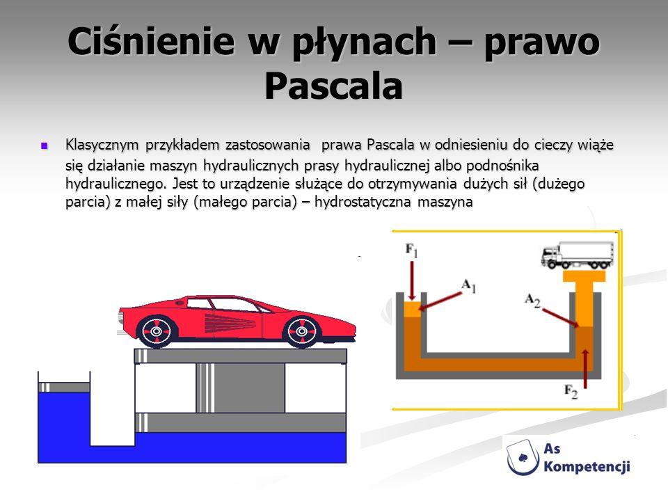 Ciśnienie w płynach – prawo Pascala Klasycznym przykładem zastosowania prawa Pascala w odniesieniu do cieczy wiąże się działanie maszyn hydraulicznych