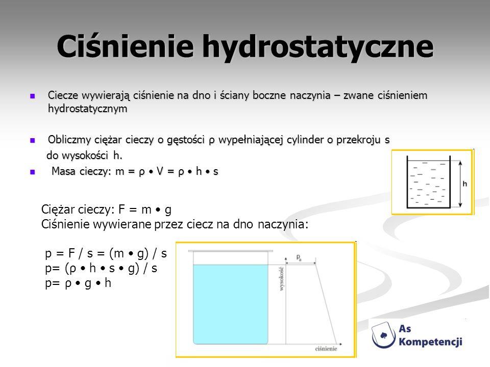 Ciśnienie hydrostatyczne Ciecze wywierają ciśnienie na dno i ściany boczne naczynia – zwane ciśnieniem hydrostatycznym Ciecze wywierają ciśnienie na d