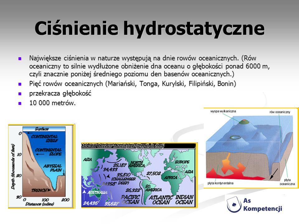 Ciśnienie hydrostatyczne Największe ciśnienia w naturze występują na dnie rowów oceanicznych. (Rów oceaniczny to silnie wydłużone obniżenie dna oceanu