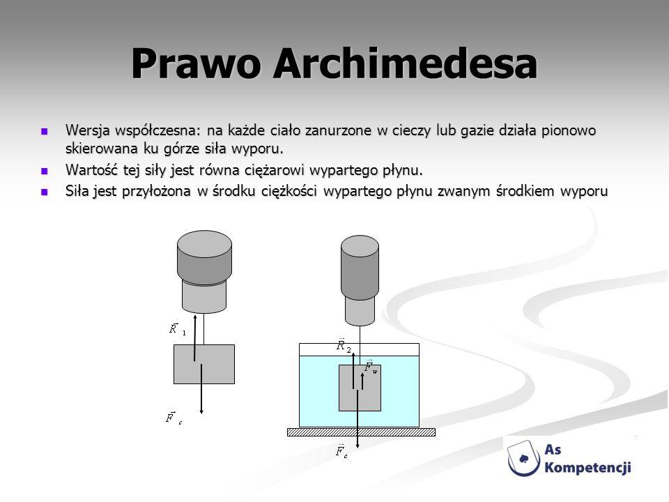 Prawo Archimedesa Wersja współczesna: na każde ciało zanurzone w cieczy lub gazie działa pionowo skierowana ku górze siła wyporu. Wersja współczesna: