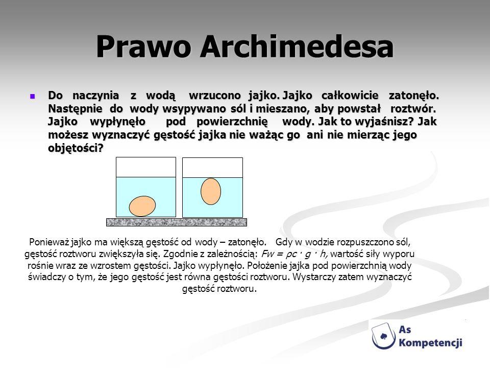 Prawo Archimedesa Do naczynia z wodą wrzucono jajko. Jajko całkowicie zatonęło. Następnie do wody wsypywano sól i mieszano, aby powstał roztwór. Jajko