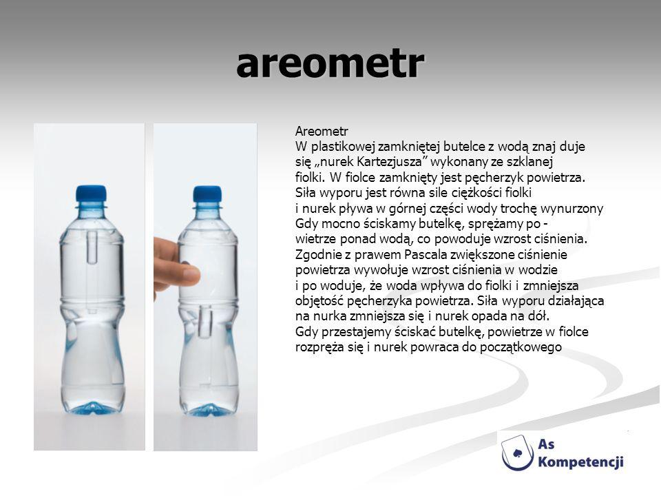 areometr Areometr W plastikowej zamkniętej butelce z wodą znaj duje się nurek Kartezjusza wykonany ze szklanej fiolki. W fiolce zamknięty jest pęcherz