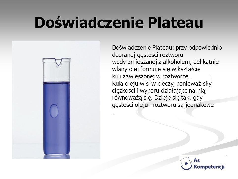 Doświadczenie Plateau Doświadczenie Plateau: przy odpowiednio dobranej gęstości roztworu wody zmieszanej z alkoholem, delikatnie wlany olej formuje si