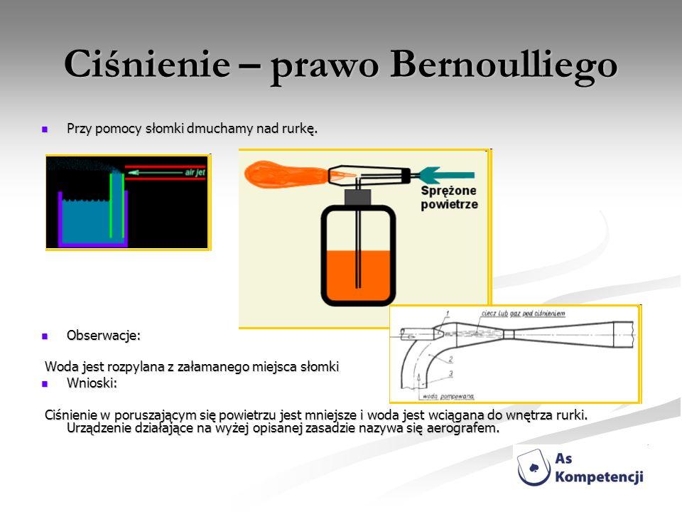 Ciśnienie – prawo Bernoulliego Przy pomocy słomki dmuchamy nad rurkę. Przy pomocy słomki dmuchamy nad rurkę. Obserwacje: Obserwacje: Woda jest rozpyla