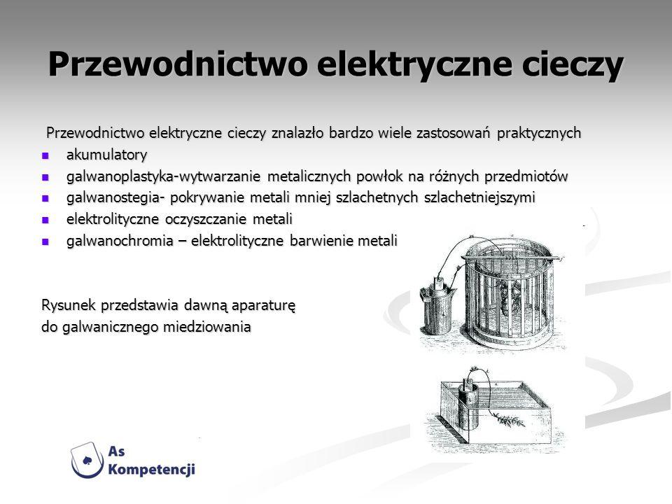Przewodnictwo elektryczne cieczy znalazło bardzo wiele zastosowań praktycznych Przewodnictwo elektryczne cieczy znalazło bardzo wiele zastosowań prakt