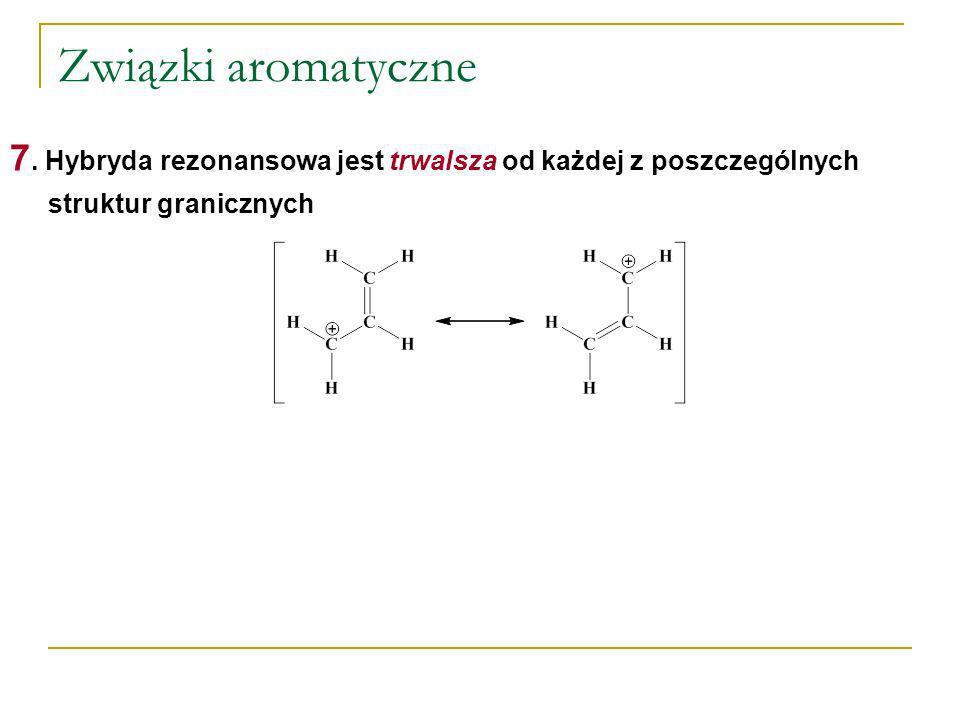 Związki aromatyczne 7. Hybryda rezonansowa jest trwalsza od każdej z poszczególnych struktur granicznych