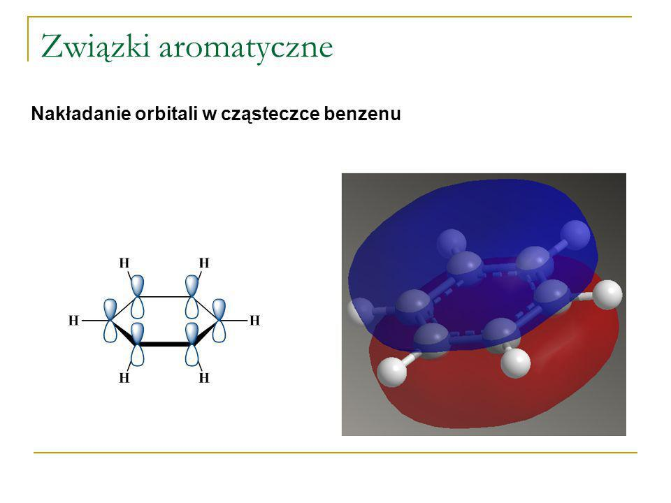 Związki aromatyczne Charakter aromatyczny związku Do związków aromatycznych zaliczamy związki, których właściwości są podobne do właściwości benzenu Są związkami pierścieniowymi (najpowszechniejsze są pierścienie pięcio-, sześcio- i siedmioczłonowe) Cząsteczki mają budowę płaską (lub prawie płaską) Cząsteczki zawierają chmurę zdelokalizowanych elektronów poniżej i powyżej płaszczyzny pierścienia Zdelokalizowane elektrony tworzą układ wiązań sprzężonych