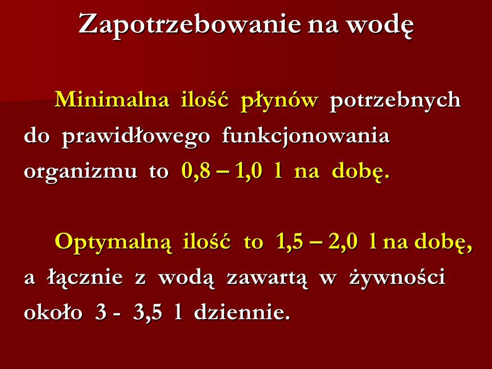 Zapotrzebowanie na wodę Minimalna ilość płynów potrzebnych do prawidłowego funkcjonowania do prawidłowego funkcjonowania organizmu to 0,8 – 1,0 l na d