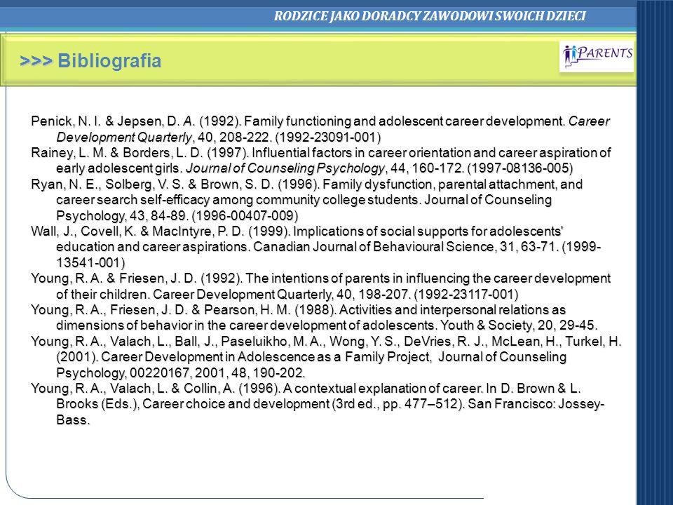 RODZICE JAKO DORADCY ZAWODOWI SWOICH DZIECI >>> >>> Bibliografia Penick, N. I. & Jepsen, D. A. (1992). Family functioning and adolescent career develo