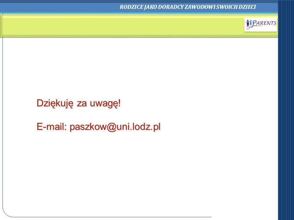 RODZICE JAKO DORADCY ZAWODOWI SWOICH DZIECI Dziękuję za uwagę! E-mail: paszkow@uni.lodz.pl