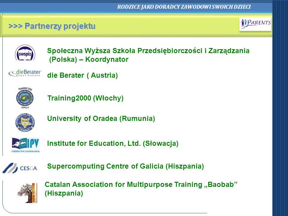 RODZICE JAKO DORADCY ZAWODOWI SWOICH DZIECI >>> Partnerzy projektu Społeczna Wyższa Szkoła Przedsiębiorczości i Zarządzania (Polska) – Koordynator Cat