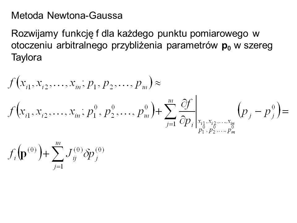 Metoda Newtona-Gaussa Rozwijamy funkcję f dla każdego punktu pomiarowego w otoczeniu arbitralnego przybliżenia parametrów p 0 w szereg Taylora