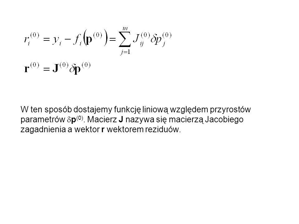 W ten sposób dostajemy funkcję liniową względem przyrostów parametrów p (0). Macierz J nazywa się macierzą Jacobiego zagadnienia a wektor r wektorem r
