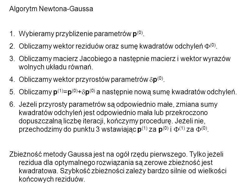 Algorytm Newtona-Gaussa 1.Wybieramy przybliżenie parametrów p (0). 2.Obliczamy wektor reziduów oraz sumę kwadratów odchyleń (0). 3.Obliczamy macierz J